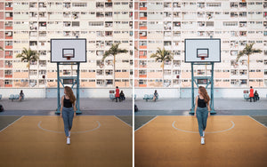 Before and after of @jordhammond Lightroom Urban Preset - Girl walking on basketball court with colourful apartment backdrop, Hong Kong.