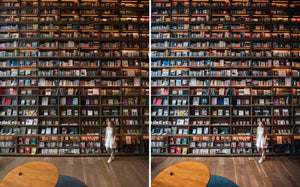 Before and after of @jordhammond Lightroom Urban Preset - Girl looking for a book at bookstore, Osaka, Japan.