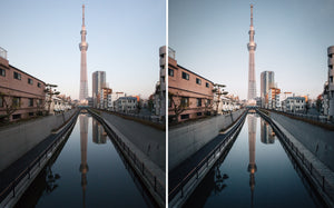 Before and after of @jordhammond Lightroom Urban Preset - Sunrise over Tokyo Skytree and canal, Tokyo, Japan.