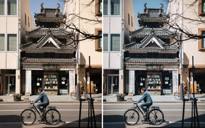 Before and after of @jordhammond Lightroom Urban Preset - Man riding bicycle in front of traditional building in Matsumoto, Japan.