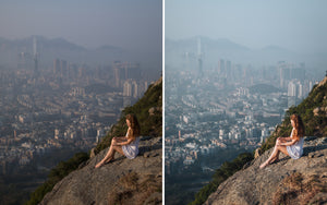 Before and after of @jordhammond Lightroom Urban Preset -  Girl sat atop of Lion Rock overlooking the city of Hong Kong.