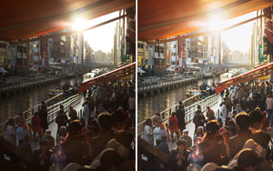 Before and after of @jordhammond Lightroom Urban Preset - Locals by the river in downtown Osaka, Japan.