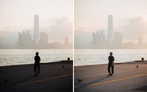 Before and after of @jordhammond Lightroom Urban Preset - Local woman exercising on pier overlooking Hong Kong skyline.