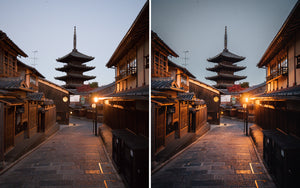 Before and after of @jordhammond Lightroom Urban Preset - Dawn over traditional street and temple in Kyoto, Japan.