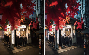 Before and after of @jordhammond Lightroom Urban Preset - Local restaurant with city lights and autumn leaves, Tokyo, Japan.