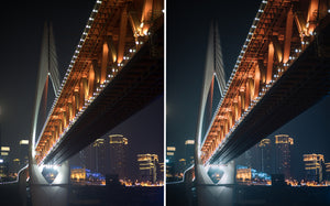 Before and after of @jordhammond Lightroom Urban Preset - Red bridge lit up at night, Chongqing, China.
