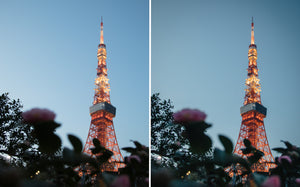 Before and after of @jordhammond Lightroom Urban Preset - Tokyo tower lit up at sunset with flower framing, Japan.