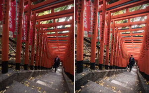 Before and after of @jordhammond Lightroom Urban Preset - Businessman walking through tori gates in downtown Tokyo, Japan.
