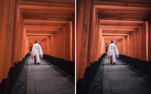 Before and after of @jordhammond Lightroom Urban Preset - Local priest walking through the tori gates at sunrise, Kyoto, Japan.