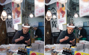 Before and after of @jordhammond Lightroom Urban Preset - Local man at work at a seafood market, Osaka, Japan.