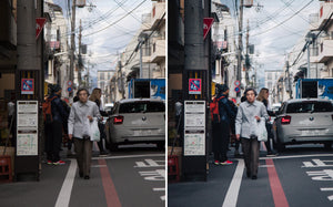 Before and after of @jordhammond Lightroom Urban Preset - Woman walking down street in Kyoto, Japan.