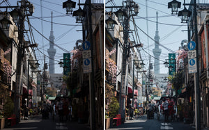 Before and after of @jordhammond Lightroom Urban Preset - Tokyo Skytree at the end of a small street, Japan.