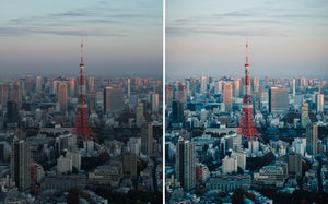 Before and after of @jordhammond Lightroom Urban Preset - View of Tokyo Tower from nearby lookout at sunset, Tokyo, Japan.