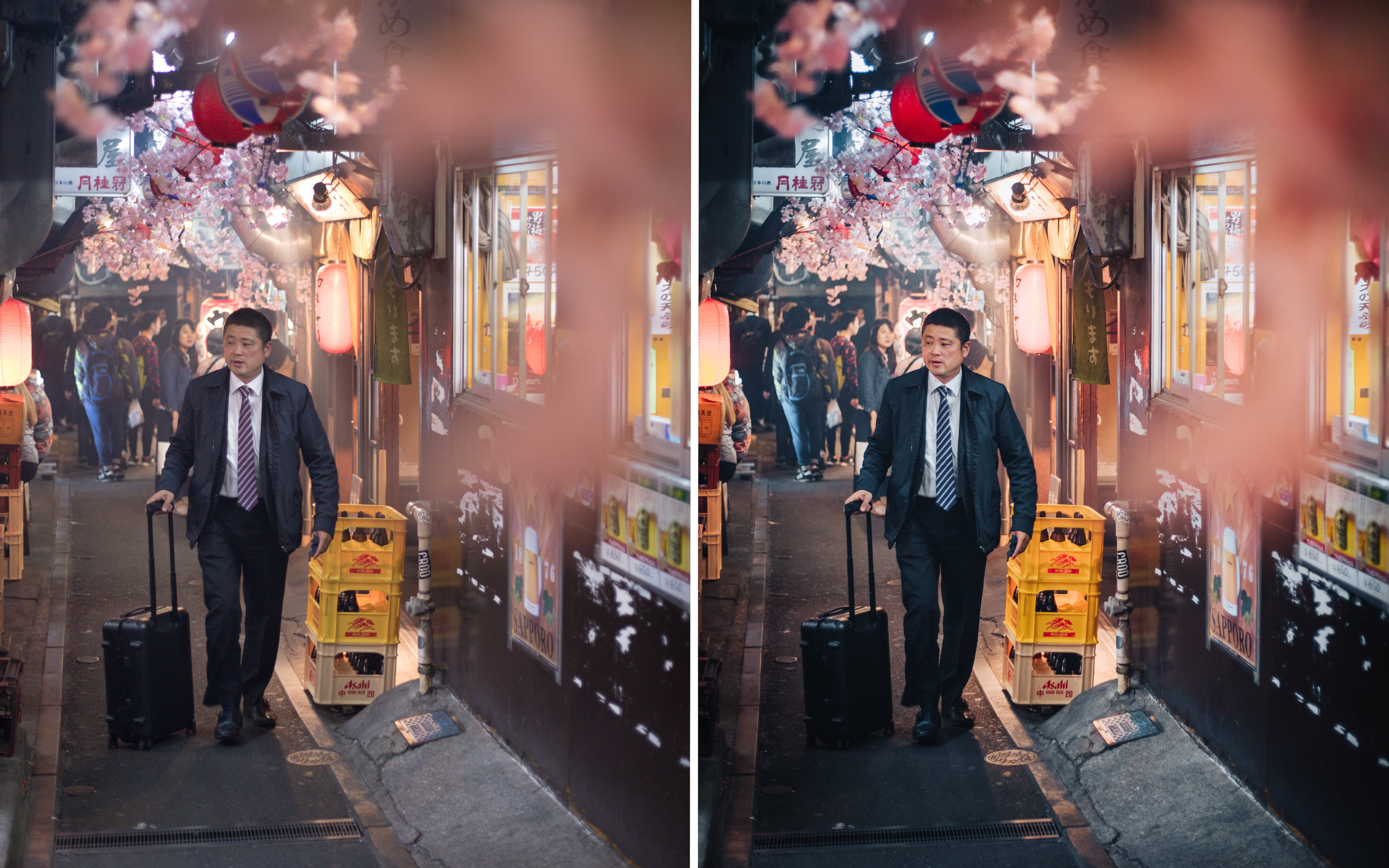 Before and after of @jordhammond Lightroom Urban Preset - Man walking through alleyway at night surrounded by cherry blossoms in Tokyo, Japan.