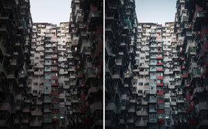 Before and after of @jordhammond Lightroom Urban Preset -  Look-up of dense apartment block in Hong Kong.