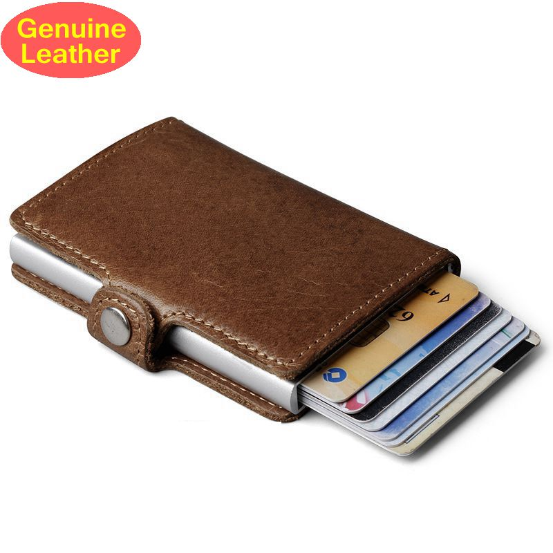 Genuine Leather Men Aluminum Wallet Automatic