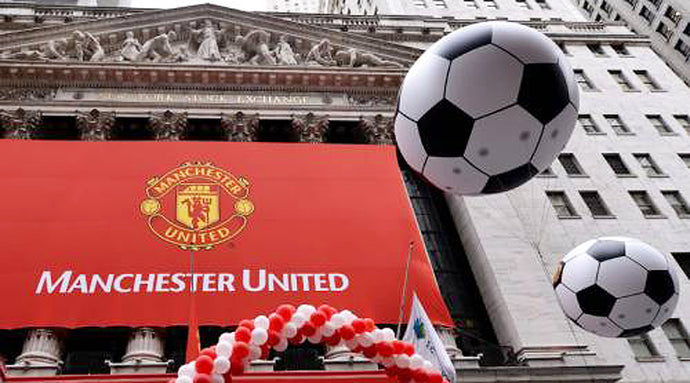 Manchester United Banner with soccer balls