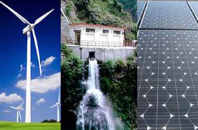 Three vertical panels of windmill, waterfall, and solar panels