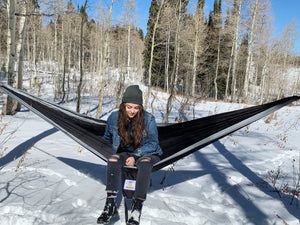 BLACK/GREY - Double Hammock with Tree Straps