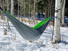 Load image into Gallery viewer, GREY/GREEN - Double Hammock with Tree Straps
