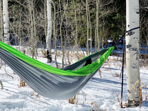 GREY/GREEN - Double Hammock with Tree Straps