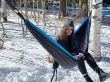 Load image into Gallery viewer, BLACK/BLUE - Double Hammock with Tree Straps