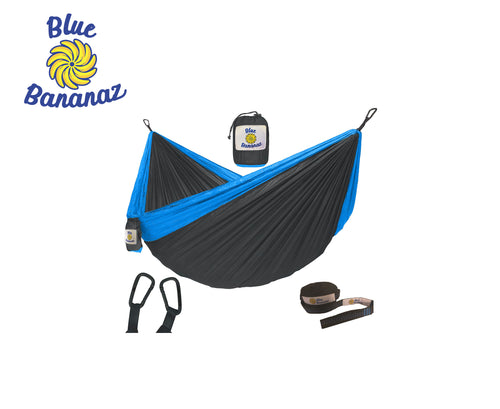 BLACK/BLUE - Double Hammock with Tree Straps
