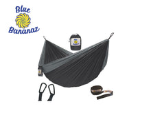 Load image into Gallery viewer, BLACK/GREY - Double Hammock with Tree Straps