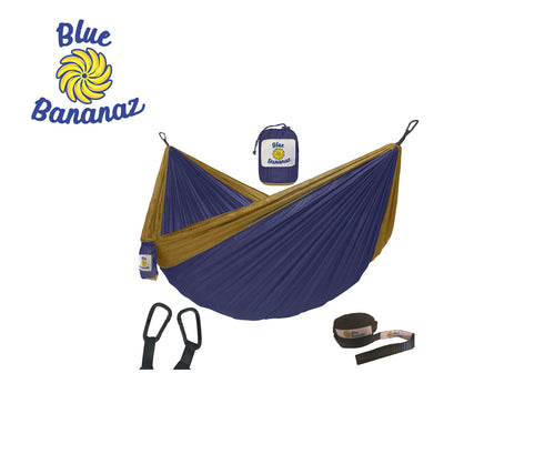 BLUE/TAN - Double Hammock with Tree Straps