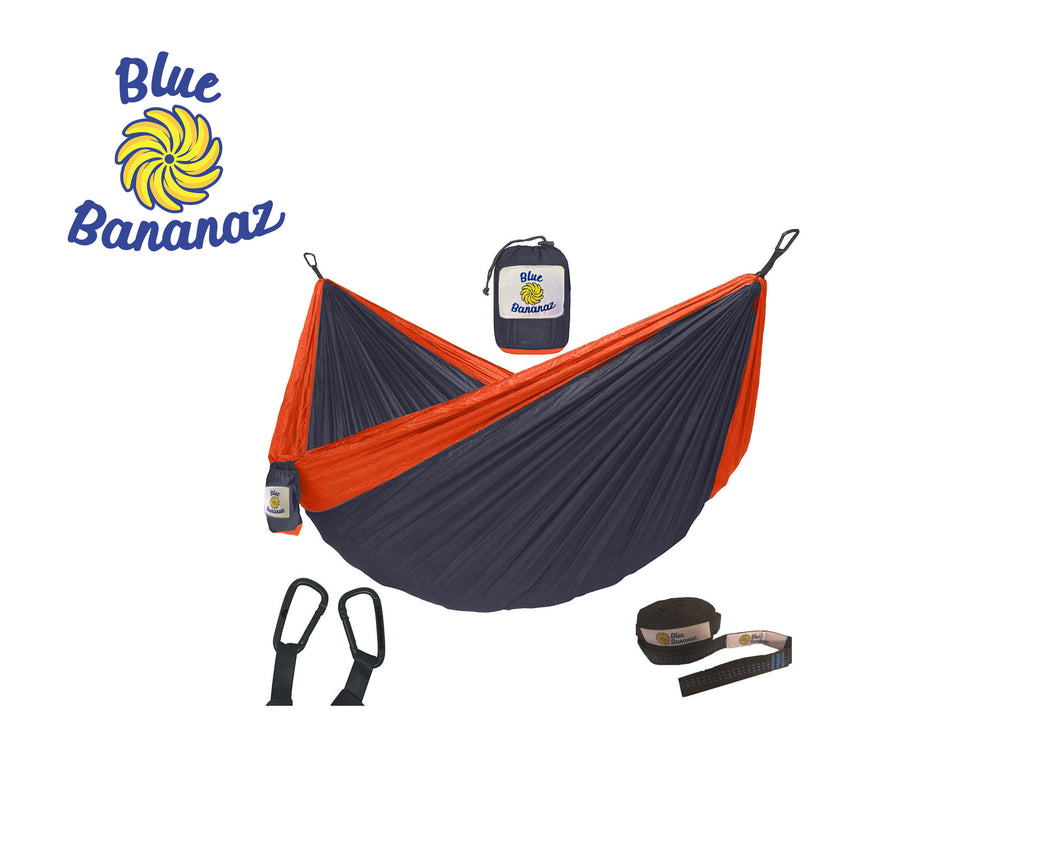 GREY/ORANGE - Double Hammock with Tree Straps