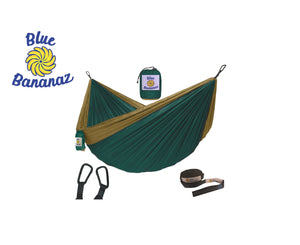 GREEN/CAMEL - Double Hammock with Tree Straps