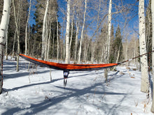 Load image into Gallery viewer, GREY/ORANGE - Double Hammock with Tree Straps