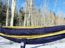 Load image into Gallery viewer, BLUE/TAN - Double Hammock with Tree Straps