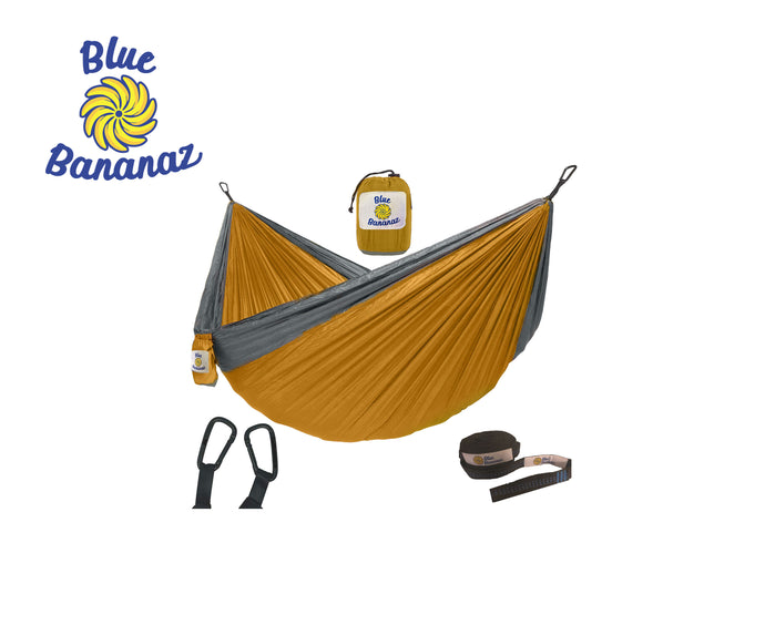 LT. ORANGE/GREY - Double Hammock with Tree Straps