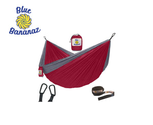 RED/GREY - Double Hammock with Tree Straps