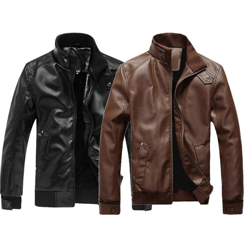 Slim Leather Male Jacket for Bikers