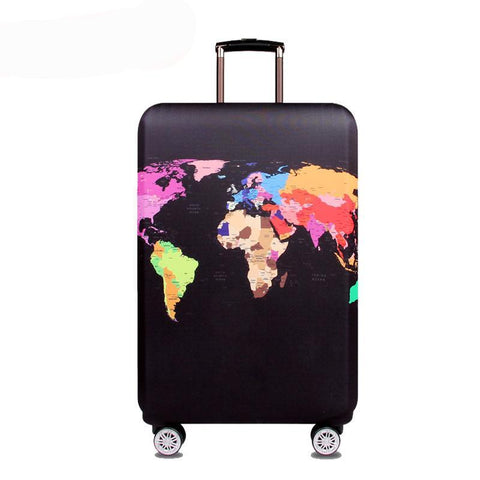 World Map Elastic Luggage Cover for 18''-32'' Suitcase