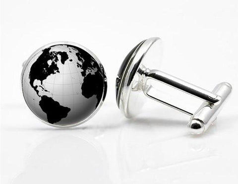 World Earth Map Seven Ocean Cufflinks for Men's