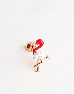 Single Dainty Flamingo Earring