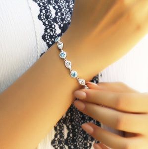 Statement Bracelet With Blue Zirconia
