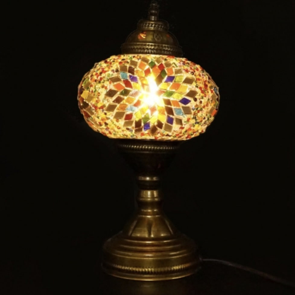 Mosaic Table Lamp - Blue, Green, Yellow & Red