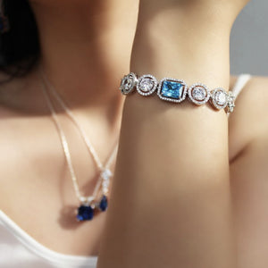Statement Bracelet With Round Zirconia
