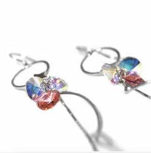 Silver Hoop & Star Earrings With Swarovski & Zircon Stones