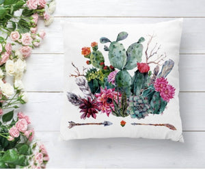 Cactus Flower Cushion Cover - 43X43cm Home Sofa Bedding Decor
