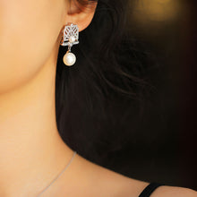Load image into Gallery viewer, Silver Pearl Statement Earrings