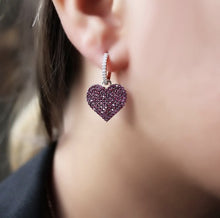 Load image into Gallery viewer, Fuchsia Heart Silver Earrings