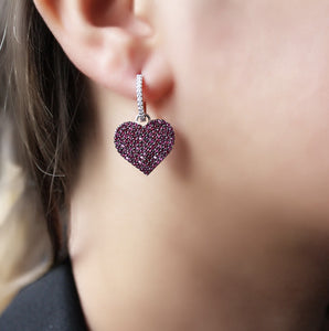 Fuchsia Heart Silver Earrings