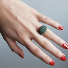 Load image into Gallery viewer, Green Zircon Stone Silver Ring