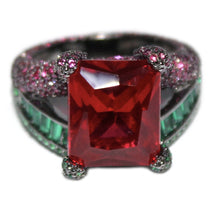 Load image into Gallery viewer, Green & Fuchsia Special Cut Stone Ring