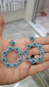 The Turquoise Daisy Earrings With Swarovski Stones